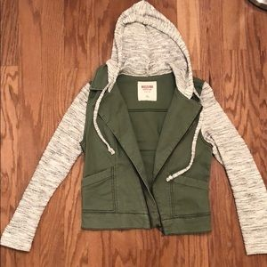 Missimo Army Green Jacket with Knit Sleeves & Hood